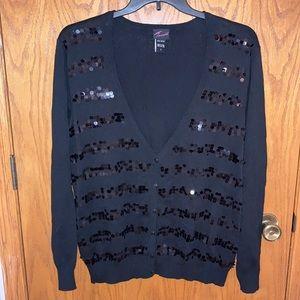 Torrid Black V-neck Sequined Cardigan